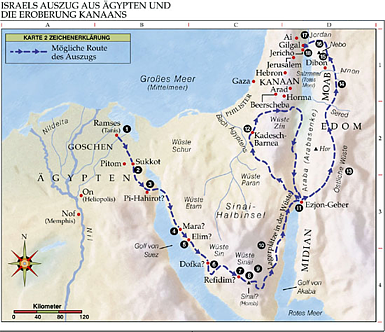 a look at the journey of the exodus from egypt to the promised land in the bible Exodus 13:17 as the israelites were marching out of egypt, god suddenly led the israelites south, at a right angle from the most direct route to the promised land god was very concerned that they were not ready to fight a war.